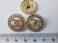 Пуговици металические, пуговици Chanel, позолоченые, круглые, 18мм, ручной работы.