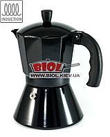 Гейзерная кофеварка 300мл (6 кофейных чашек)  алюминиевая черного цвета Edenberg (EB-1816)