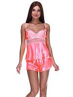 Сатиновая пижама женская с шортами, фото 1