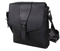 Стильная мужская кожаная сумка черная с декоративным ремешком Accessory Collection RT-005R