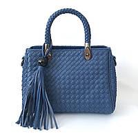 Синяя кожаная сумочка, сумка крос боди, кроссбоди в стиле bottega veneta