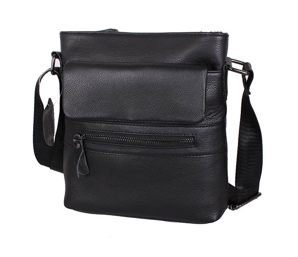 25dde2e179ab Удобная мужская кожаная сумка через плечо черная Accessory Collection