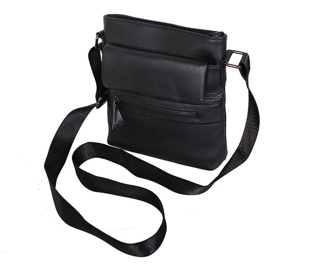 1f500f4f2815 ... Удобная мужская кожаная сумка через плечо черная Accessory Collection  ...