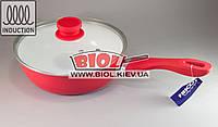 Сковорода глубокая 24х7см с керамическим покрытием (снаружи - красная) и стеклянной крышкой Frico FRU-075-1