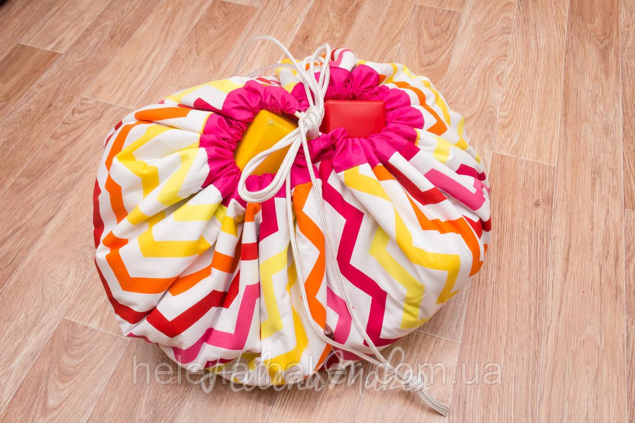 """Плеймат розовый """"Бабочки и зиг-заг"""" 100 см  (коврик-трансформер для игр, мешок для игрушек)"""