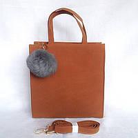 1d43138200ba Замшевая коричневая сумка с меховым балабоном на длинных ручках