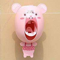 Детский забавный дозатор зубной пасты с мордашкой мышонка, розовый