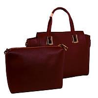 Кожаная сумка вишневого цвета + в подарок клатч!