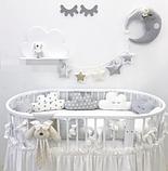 Бортики в детскую овальную кроватку - Облачка , фото 2
