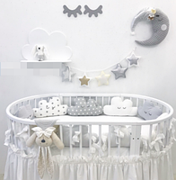 Бортики в дитячу овальну ліжечко - Хмаринки, фото 2