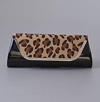 Клатч черный лаковый (леопардовая вставка из велюра