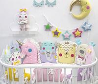 Бортики в детскую овальную кроватку - Зверушки