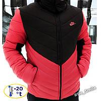 Мужская зимняя курточка Nike черно-красная