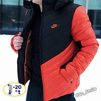 Мужская зимняя курточка Nike черно-оранжевая