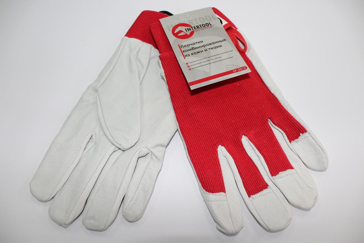 Перчатки комбинированные из высококачественной кожи и хлопка на липучке SP-0012