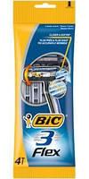Набор одноразовых бритвенных станков Bic 3 Flex для чувствительной кожи 4шт в упаковке
