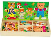 Развивающая деревянная игрушка Одевай-ка Семейка Мишек