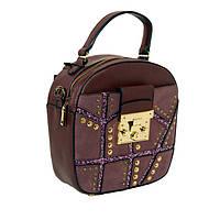 Кожаная круглая сумка бордо со стразами на длинных ручках, крос боди, кросс-боди В наличии
