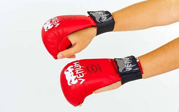 Накладки (рукавички) для карате PU VENUM MITTS (р-р S - L, червоний, манжет на гумці)