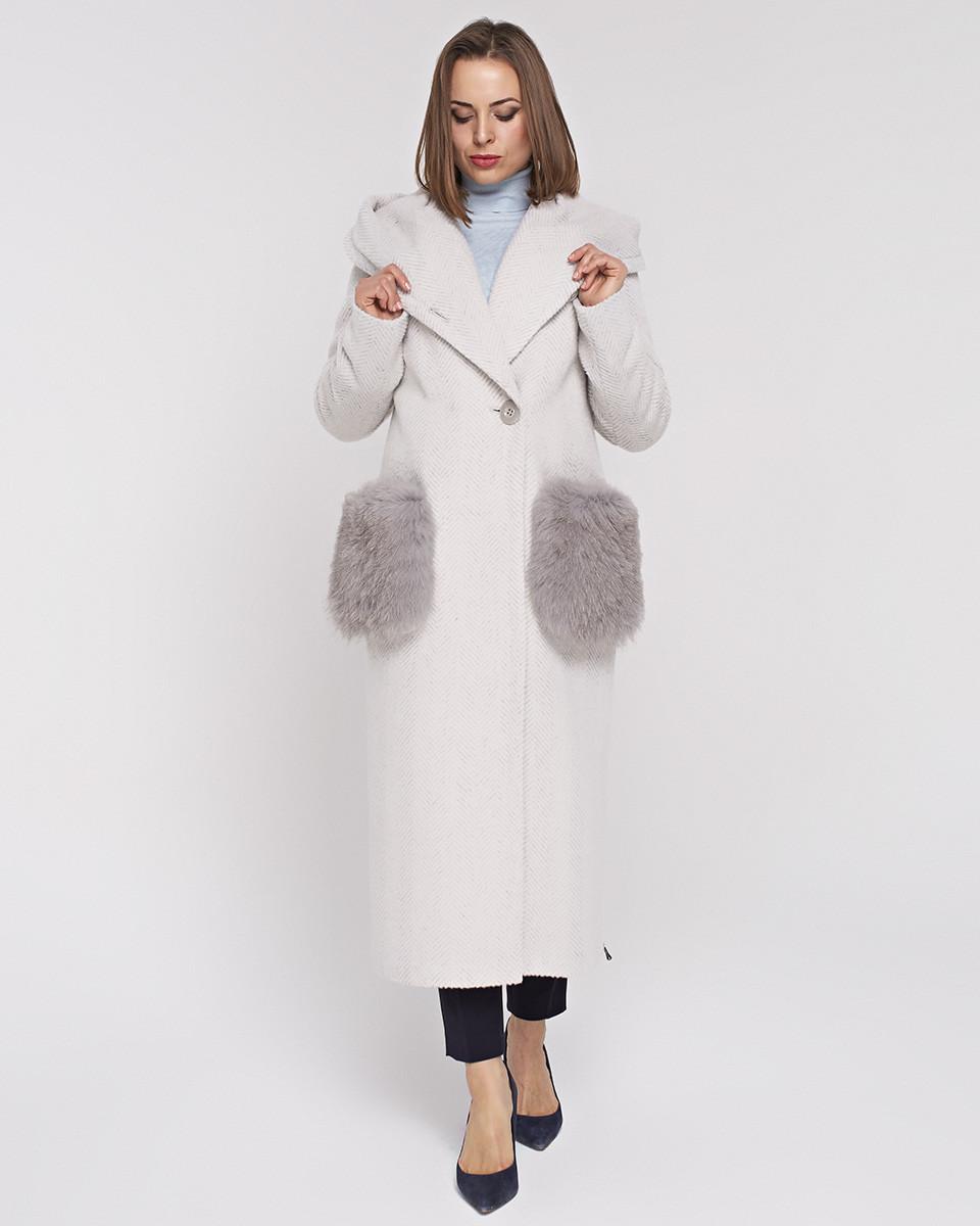 Длинное пальто с меховыми карманами