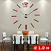 3D-Часы настенные недюжинного диаметра с палочками (диаметр 1 м) красные [Пластик], фото 2