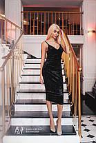 Силуэтное платье из бархата на бретелях , фото 3