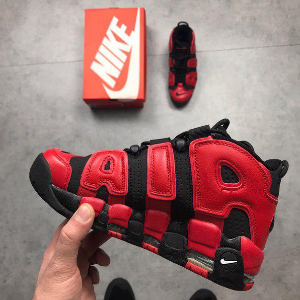 Мужские кроссовки Air More Uptempo QS Black Red, Копия