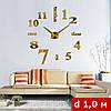 3D-Часы настенные большие с надписями (диаметр 1 м) золотые  [Пластик], фото 2