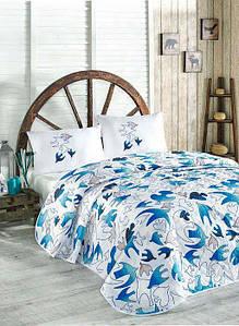 Покрывало Eponj Home YalcinKuslar голубой  160*220 подростковое