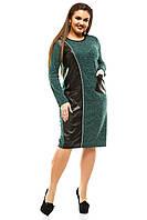 Женское платье с отделкой из эко кожи и змейкой.