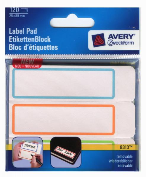 Этикетка-блокнот самоклеящаяся Avery, 50 х 115 мм, белая с цветной рамкой