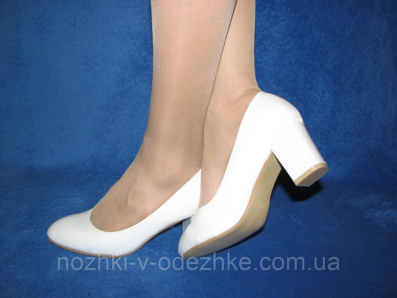 ba54caf1b02d Женские белые лакированные туфли на широком каблуке 36 23 см - Интернет  магазин