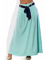 Летняя длинная ментоловая юбка 1263