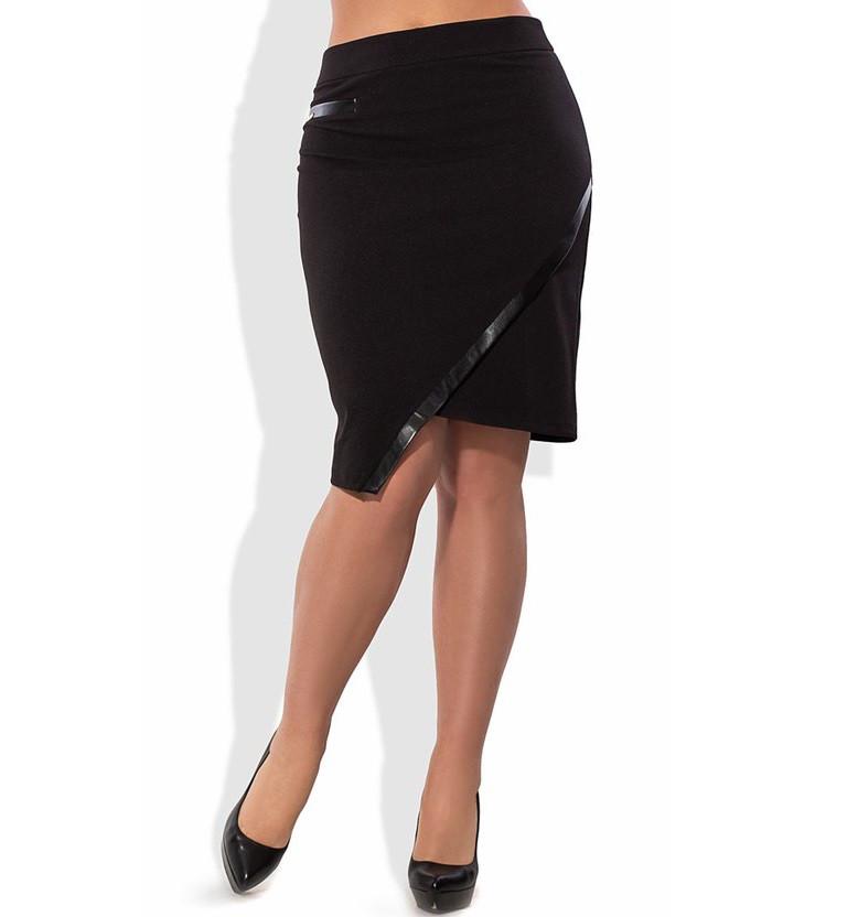 Черная юбка с кожаным кантом 1317