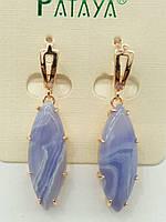 Фиолетовые старинные серьги ретро под натуральные камни, серьги оптом. 2403