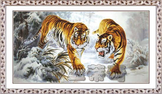 """Набор для рисования камнями """"Тигры на снегу"""", фото 2"""