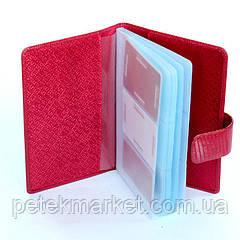 Визитница Petek 1083, Красный, Рептилия, Лакированная