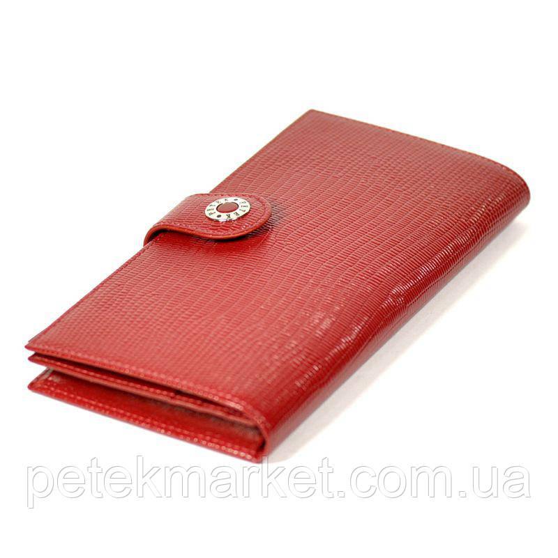 Классический портмоне Петек 441, Красный, 3+, 5+, Горизонтальное, Рептилия, Нет, Лакированная, Под ровную купюру
