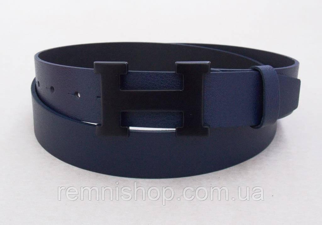 Шкіряний синій ремінь Hermes унісекс