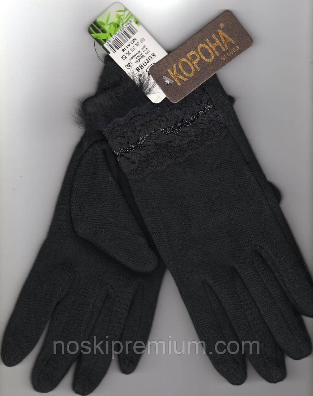 Перчатки женские кашемир на меху Корона, чёрные, размеры М,L, 7215А-4