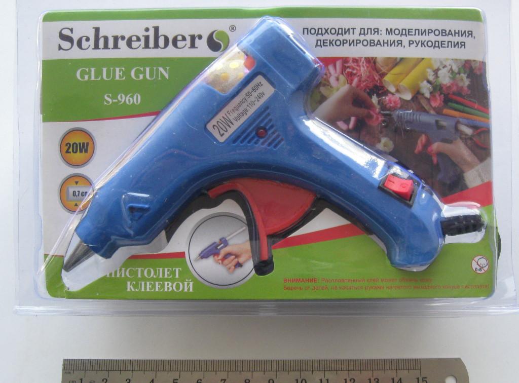 Пистолет термоклеевой для горячего клея, малый с выключателем 20Вт