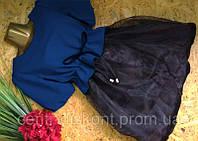Платье Беби Долл с органзой С52 сапфир 44р
