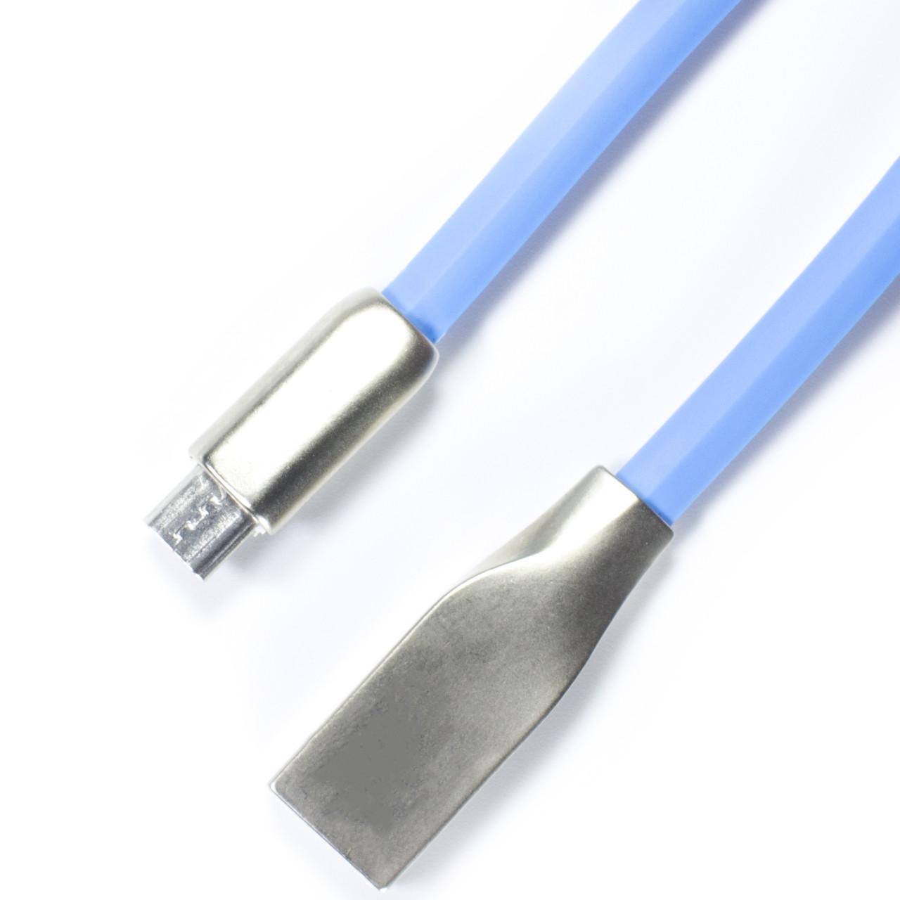 ⇒Кабель браслет Lesko USB 2.0 microUSB/USB Синий на руку к смартфону