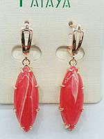Ретро серьги с красными камнями под натуральные, серьги оптом. 2408