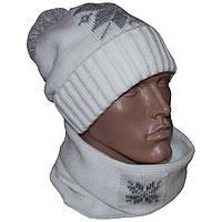 """Вязаная зимняя шапка - носок """"Снежок"""" (утепленный вариант), и шарф - хомут, с норвежским орнаментом"""