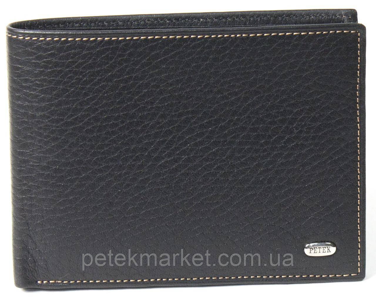 Мужское портмоне Petek 112, Черный, 2, 5+, Горизонтальное, Естественная фактура, Есть, Матовая, Стандартное