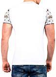 S/44  Мужская футболка с орнаментом на рукавах и кармане белый, фото 2