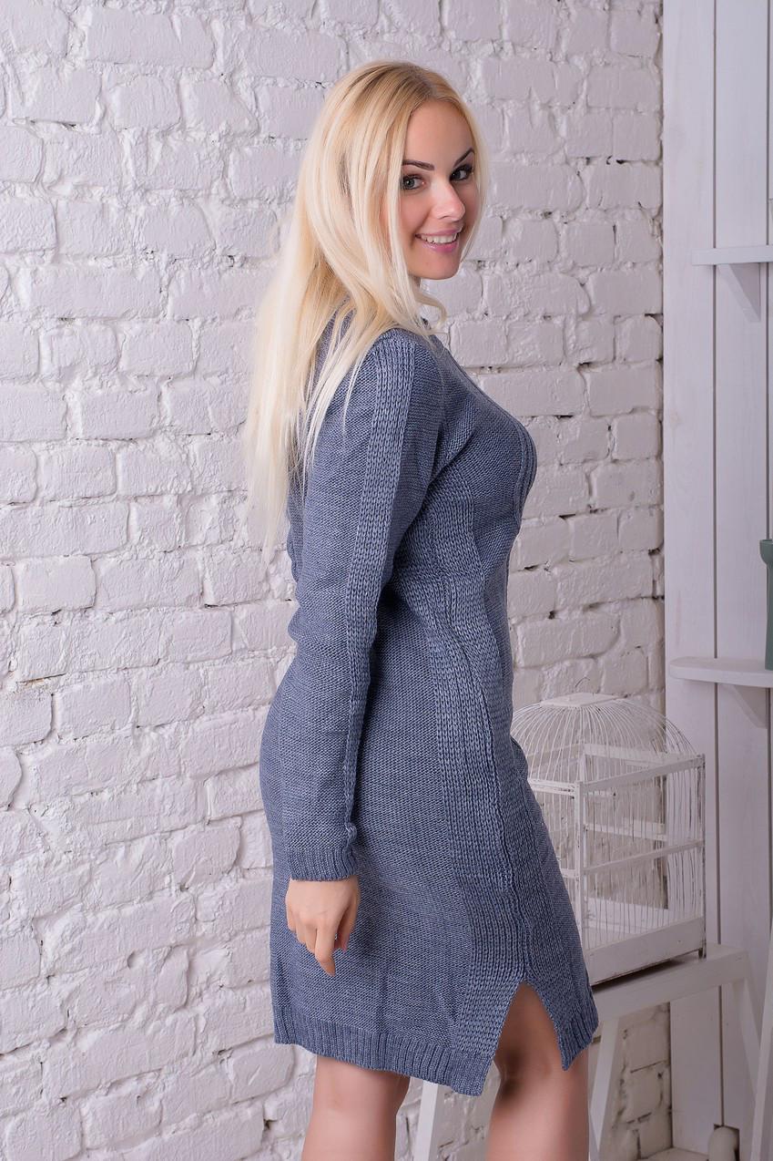 Платье вязанное Карина джинс (46-50)