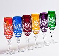 Набор бокалов для шампанского из цветного хрусталя Julia FS8518 (6 штук/180 мл)
