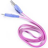 Кабель Lesko с подсветкой microUSB/USB 1m Розовый для смартфона планшета
